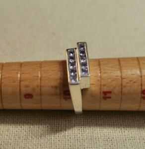 Double Row Channel Set Tanzanite Sterling Silver Ring Sz10
