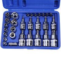 """1/4"""" 29PC Torx Star Socket Set  Bit Male Female E  T Sockets With Torx Bit Tool"""