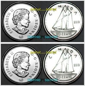 2x CANADA 2018 CANADIAN DIME ST. CROIX SHIP QUEEN ELIZABETH 10 CENT COIN LOT UNC