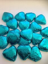 50 blue foil wrapped solid belgian chocolate hearts/wedding favours/sweets