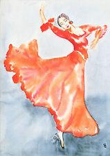 G. SCHMIDT Acquerello pressione 20x30 signora ballerina disegno pittura arte g60