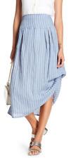 Insight Stripe Linen Midi Skirt Blue S NWT $126