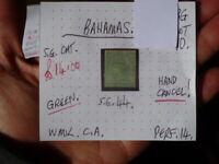 BAHAMAS QUEEN VICTORIA 1D GREEN  F/U STAMP SG 44 HAND CANCEL