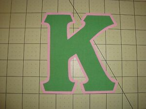 5 INCH GREEK SORORITY/FRATERNITY (NO SEW) IRON ON LETTERS - GREEN/PINK