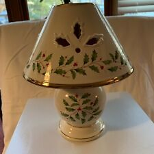 Lenox Holiday Candle Lamp Holly & Berries Ivory