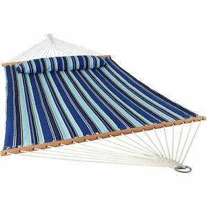 Sunnydaze 2-Person Quilted Spreader Bar Hammock Bed and Pillow - Catalina Beach