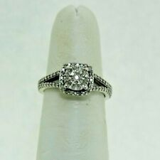 Halo Engagement Ring 2.5g Size 5½ Nice Sterling Silver 1/3 Carat Diamond Cluster