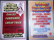 3 Texxas World Music Festival Texas Jam posters 79,80,88 Eagles Van Halen Boston