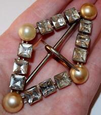 ANTIQUE SIGNED MADE IN CZECHOSLOVAKIA CZECH SQUARE RHINESTONES FAUX PEARL BUCKLE