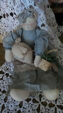 Vintage Hand Crafted Stuffed Muslin Cat 16 inches Tall Blue Dress Muslin Apron