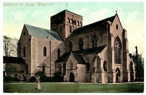 Church of St. Cross Winchester UK England Postcard Painted 1908 1909