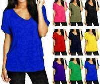 Women tank top loose large V-neck solid color shirt Soft T-Shirt multiple colour