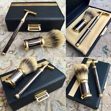 Superb Vintage Boxed 24ct Gold Plated Badger Hair Shaving Brush & Blade Set