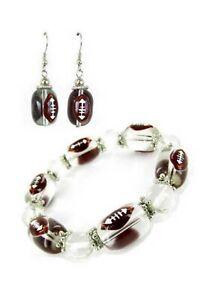 Football Jewelry Bracelet Dangle Earring Sport Handmade Beaded Stretch Bracelet