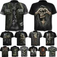 Punk Men's Funny Skull 3D Print T-Shirt Summer Casual Short Sleeve Tee Tops