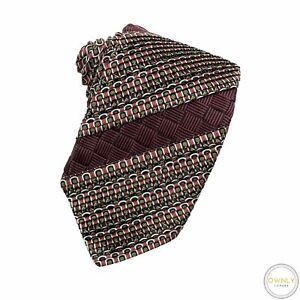LNWOT Brioni Black Red 100% Silk Abstract Pleated Basketweave Self-Tipped Tie