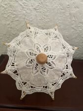 Small Doll Battenburg Lace Parasol Umbrella Wood Handle Decoration - 8 Inches