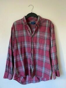 Vintage Red/White Plaid/Flannel Shirt (Large)