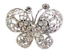 Silver Crystal Rhinestone Butterfly Finger Ring Adjustable Women Girls Ladies UK