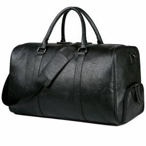 New Large Men Soft Leather Black Duffel Laptop Bag Travel Luggage Handbag