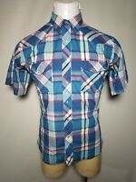Vintage Lee Mens Shirt Western Plaid Pearl Snap Size Large L Blue Pink