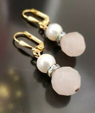 Gift for love one..Natural Rose quartz and fresh water Pearl Earrings