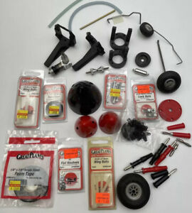 RC Model Airplane Parts Collection Lot Great Planes Wheels Fuel Tanks Hardware