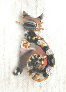2008 LizTech Mirrored Cat Pin Brooch Artisin Pin Signed & Dated