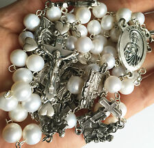 Stations of the Cross Prayer REAL PEARL BEADS ROSARY NECKLACE CROSS CATHOLIC