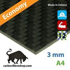 ECONOMY Real Carbon Fibre Sheet 3 mm A4 (210 x 297 mm)