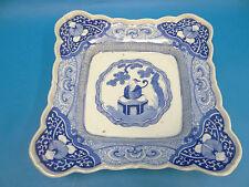 Antique Old Signed Blue & White Oriental Porcelain Serving Dish Plate Asian