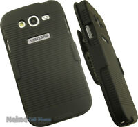 BLACK HARD CASE COVER + BELT CLIP HOLSTER STAND FOR SAMSUNG GALAXY GRAND NEO