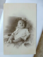 RPPC Cute Adorable Baby Fur Rug Beautifully Photographed Old Real Photo Postcard