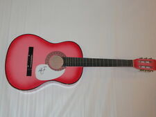 ELLE KING SIGNED HOT PINK ACOUSTIC GUITAR EX'S AND OH'S EXACT PROOF