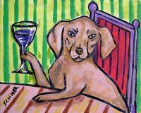 vizsla wine dog 11x14  art print animals impressionism artist