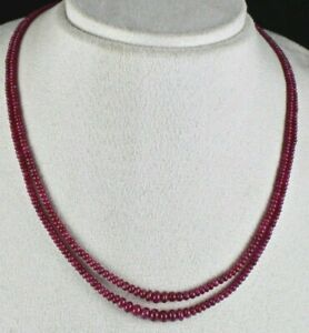 NATURAL UNTREATED RUBY BEADS ROUND 2 LINE 120 CTS GEMSTONE BEADS LADIES NECKLACE