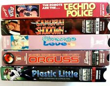 5 VHS Tape Anime movies Plastic Little Orguss Strange Love Samurai Techno Police