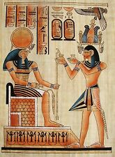 Egyptian Handpainted Papyrus Ramesses II Offers Nu-Pots to Re-Horakhty IMPORTED