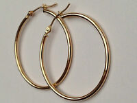 Fashion 14K Yellow Gold 1.5mmx30mm Round Shiny Super Lite Tube Hoop Earrings