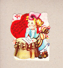 40s WWII Valentine Lg Pink Bow In Hair Girl Watching & Hoping With Love Letter
