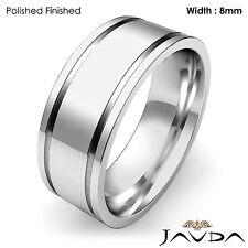 8mm Men Wedding Solid Band Flat Fit Plain High Polish Ring 14k White Gold 11.2g