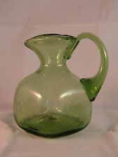 Green Bubble Glass Pitcher with applied Handle Made in USA - Perfect