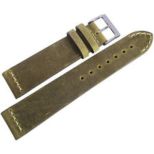 24mm ColaReb Venezia Swamp Olive Brown Leather Italy Aviator Watch Band Strap