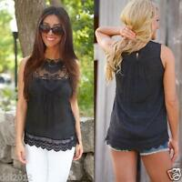 Women Summer Casual Vest Top Sleeveless Lace Blouse Casual Tank Tops Shirt