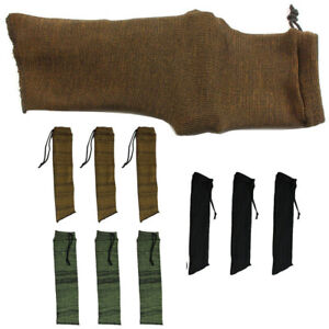 3× Black + 3× Brown + 3× Green Handgun Pistol Gun Sock Cover Storage Protect Bag