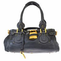 Authentic CHLOE Logo Paddington Shoulder Bag Leather Black Padlock Italy 05MH148