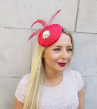 Red Gold White Velvet Statement Feather Fascinator Hair Clip Hat Races Vtg 2551
