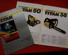 Vintage McCulloch chain saw sales brochure, Titan Range 57, 50, 38, 32, 14E