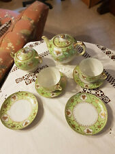 VINTAGE TEA SET FOR 2 8PC GREEN AND GOLD SET FINE BONE CHINA FOR HIGH TEA