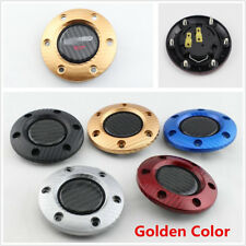 Universal Racing Car Steering Wheel Horn Button + Cover Gold Carbon Fiber Look